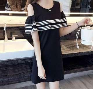 🚚 Black Ruffles Off Shoulder Dress