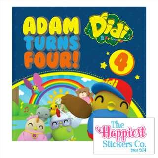 Didi Friends Theme birthday sticker label for party goodie bag favor door gift customised