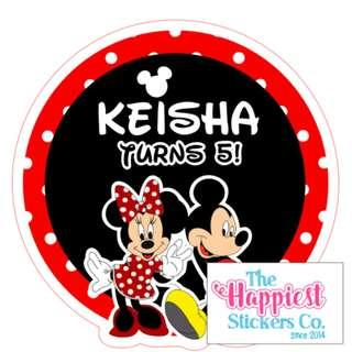 Mickey Minnie Mouse Birthday Sticker Label for Party Goodie Bag Favor Door Gift Box Customised Customisable