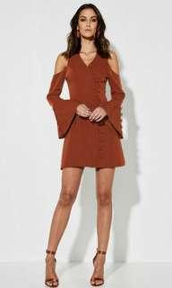 Mossman Copper Bell Sleeve Dress