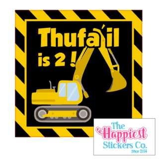 Digger Construction Vehicle Sticker Labels for birthday party goodie bag box favor door gift customised customisable