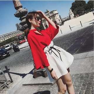 Women New Summer Color Matching Two Piece Set Dress Plus Size [Red/Khaki]