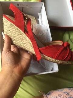 Famous footwear red tie up heels