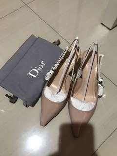 100% AUTHENTIC - DIOR Patent Calfskin Slingback Heels - Size: 37,5