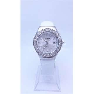 【Jessica潔西卡】時尚設計品牌錶//FOLLI FOLLIE //白面水鑽皮帶腕錶