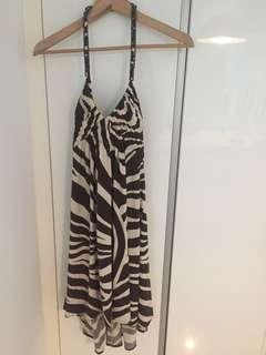 New BCBG halter neck Zebra Print Dress Size M