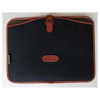 """Billingham 13"""" laptop slip case (black canvas, tan leather)"""
