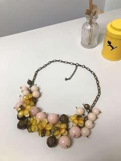 Pink and yellow cute necklace