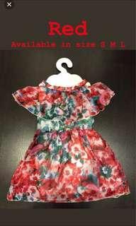 🚚 Cut off shoulder dress red