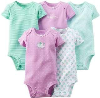 """🚚 Carter's Baby Girl 5-pack Bodysuits """"Flowering Elephant"""""""