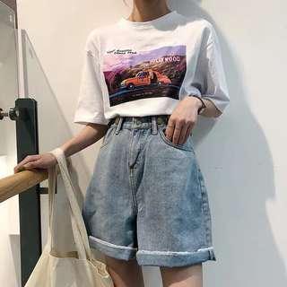 Korean style high waist denim Shorts