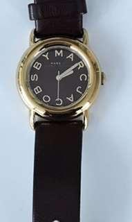 Marc Jacobs Wrist Watch Gold Round Face Leather Strap