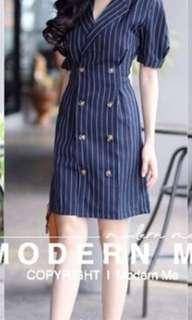 Navy Mini Dress with Buttons