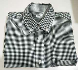 🚚 全新 uniqlo超柔棉府綢格紋長袖襯衫(綠白格) 原價$790