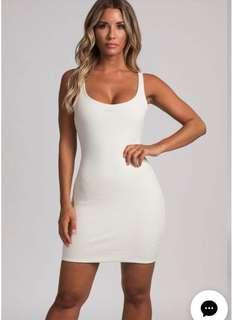 Cream white basic dress