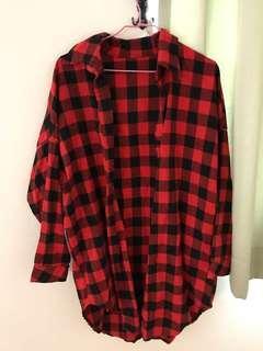 🚚 紅格子夏版外套