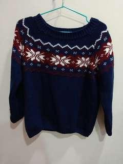 🚚 聖誕感深藍毛衣