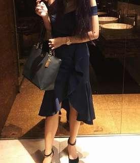 navy blue ruffles dress