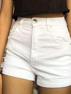 white high waisted cotton on denim shorts