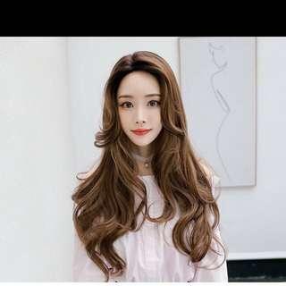 Chocolate brown wavy hair wig