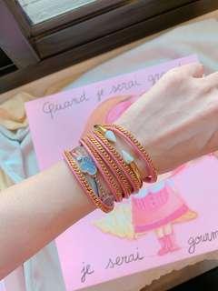 「專櫃購入」Vita Fede粉色皮手環