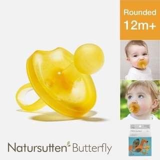 Natursutten Butterfly Rounded Natural Pacifier, L (12 Months Up) — Italy Ergonomic Eco Friendly For Baby Babies Infant Newborn Toddler Rubber Latex Non-Toxic Plastic Free Safe Ventilated Teat Shield Round Nipple Binky Dummy Soother Teether Puting Kuning