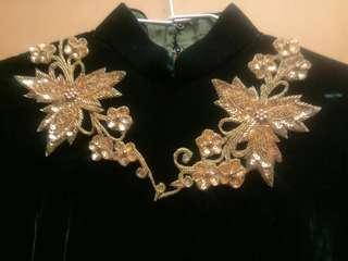 手工訂製款典雅金花亮片復古深綠絲絨旗袍
