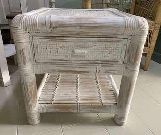 White wash bamboo bedside tables