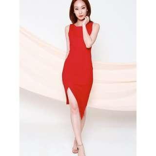 ALL WOULD ENVY AWE NIYENA RED ASYMMETRICAL PENCIL DRESS