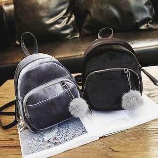 mini velvet bagpack