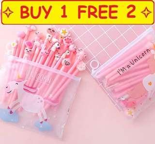 ⭐Buy 1 Free 2 ⭐ Adorable Unicorn Cartoon Animals Characters Assorted Bundle With Free Pencil Pouch