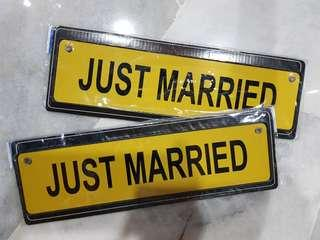 Just Married metal signage for wedding