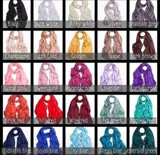 🚚 Instock Plain silk satin Royal shawl hijab Buy 3 Free 1