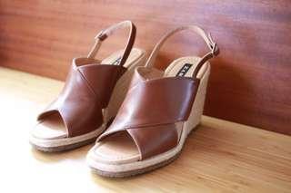 Zara 編織夏日厚底涼鞋 楔型鞋 露趾涼鞋 casual chic style