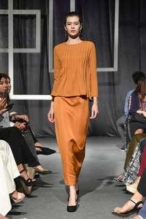 Aere Rufina Straight Cut Skirt In Bronze