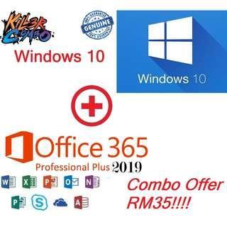 Genuine Combo! Windows 10 Pro + Office365 Pro Plus 2019