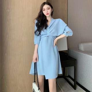連衣裙2018夏季新款優雅氣質時尚修身顯瘦V领高腰系带純色女裝