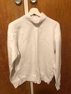 White turtle neck cotton/fleece jumper size M-L