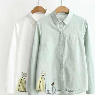 Long sleeve Cat design Linen Shirt
