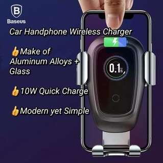 Baseus 10W Max Aluminium Alloy + Glass Car Clamping Gravity Phone Holder  QI Fast Wireless Charger Metal Car Holder Air Vent Mount for iPhone X 8 Plus Samsung S8 S9 Plus Mobile Phone Stand Smartphones(Tarnish colour)