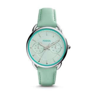 🚚 FOSSIL TAILOR MULTIFUNCTION SEA GLASS LEATHER WATCH