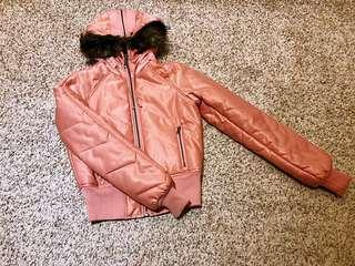 Guess Authentic Woman Pink Hooded Faux-Fur Bomber Jacket