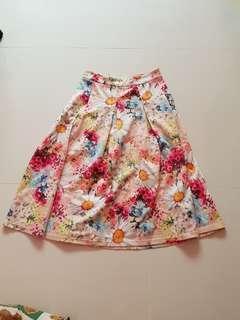 Floral print neoprene midi skirt