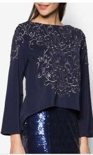 Zalia embroidered navy top