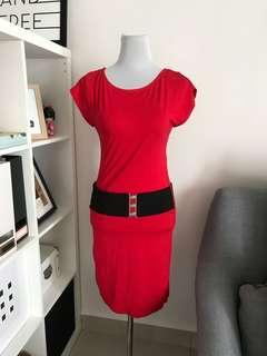 Red dress with black thick belt