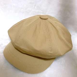 Wooplanet 行星 春芽淺色彩布面減齡報童帽 卡其色