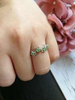$58 Sales Type A Grade A Natural Jadeite Jade Fei Cui 925 Silver White Gold Plated Ring