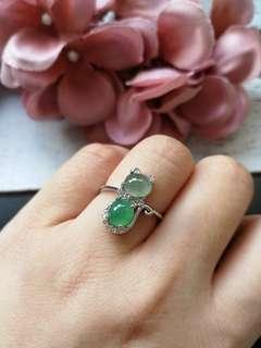 Reserved $58 Sales Type A Grade A Natural Jadeite Jade Fei Cui 925 Silver White Gold Plated Ring