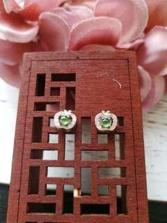 Reserved $48 Sales Type A Grade A Natural Jadeite Jade Fei Cui 925 Silver White Gold Plated With Apple Earrings