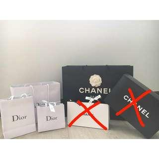 Chanel, Dior Paperbags & Boxes